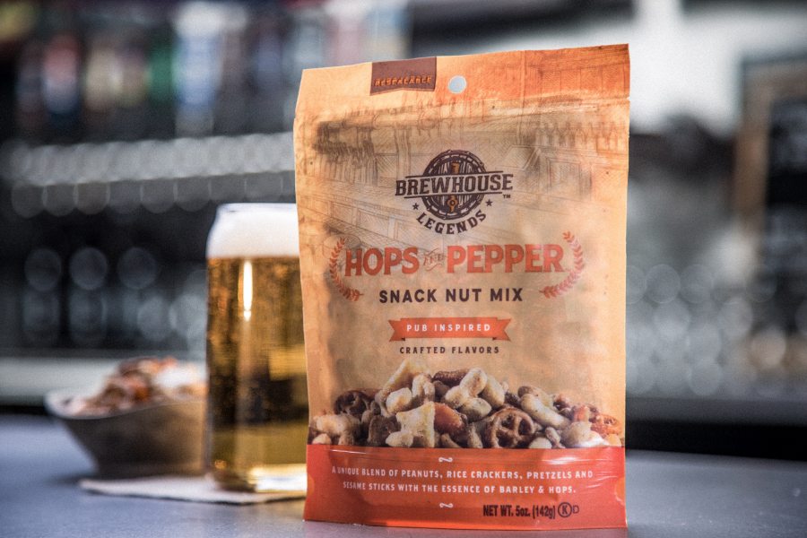brewhouse legends snacks hops and pepper 5 oz bag with beer