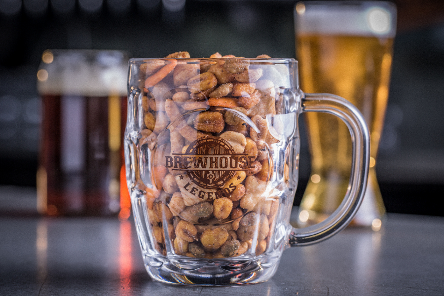 brewhouse legends snack mixes on bar in mug